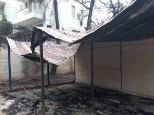 Φωτογραφικό στιγμιότυπο από το Νηπιαγωγείο & το Δημοτικό Σχολείο Βαρυμπόμπης, μετά την πυρκαγιά.